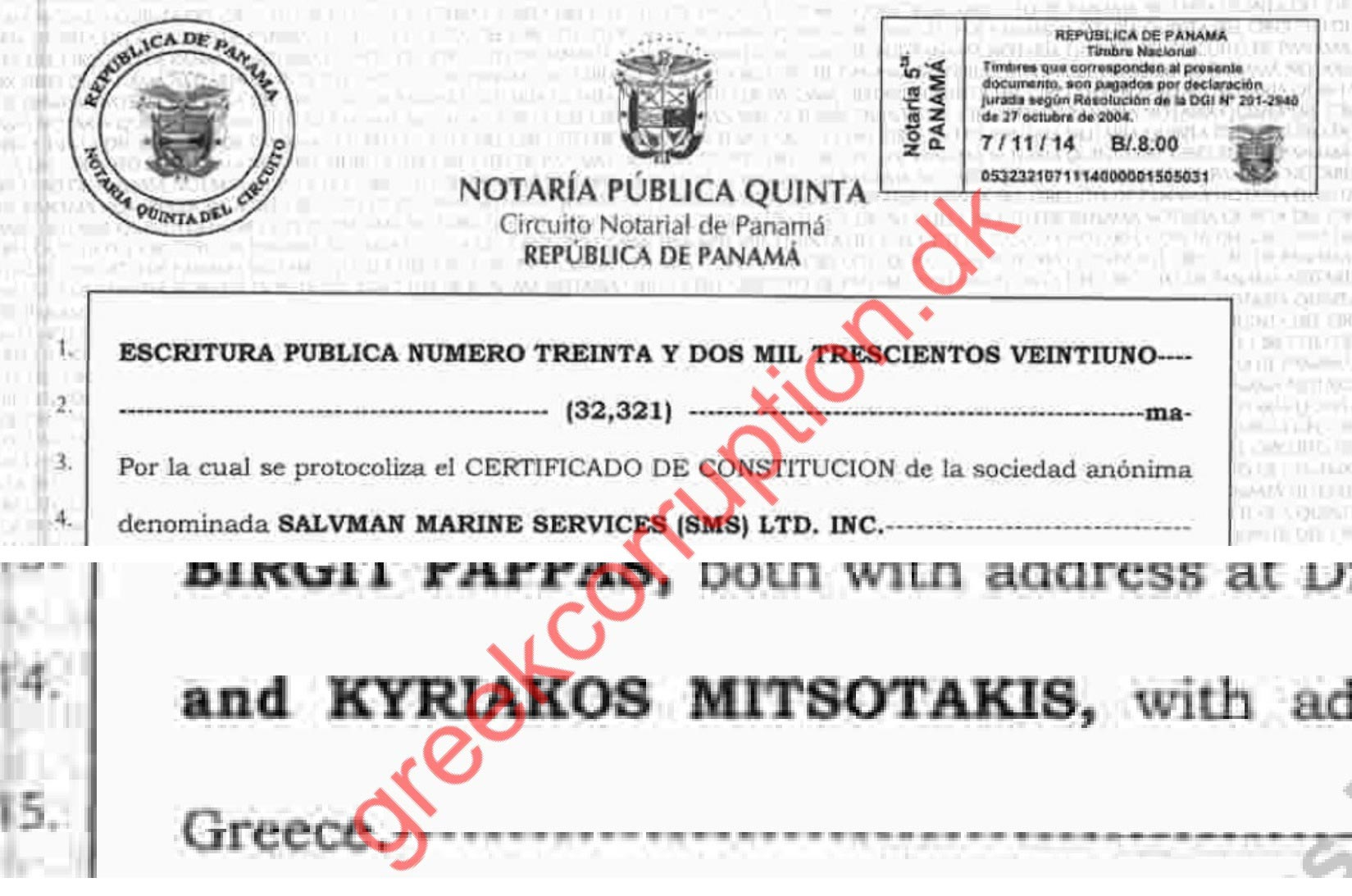 Kyriakos Mitsotakis, Offshore Company in Panama.